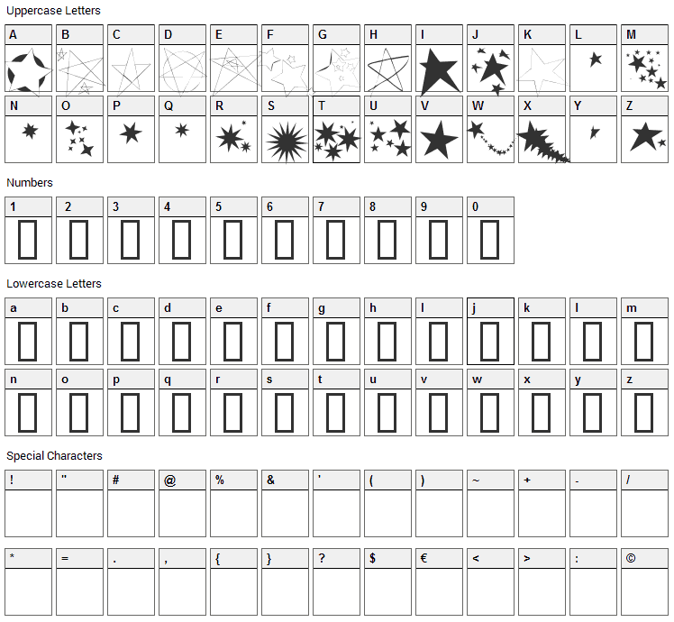 Freaking Stars Font Character Map
