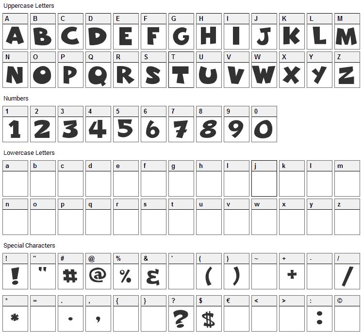 Freakomix Font Character Map