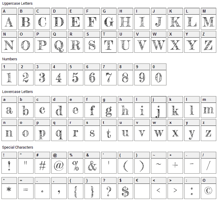 Fredericka the Great Font Character Map