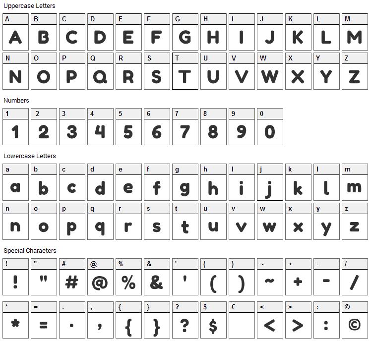 Fredoka One Font Character Map
