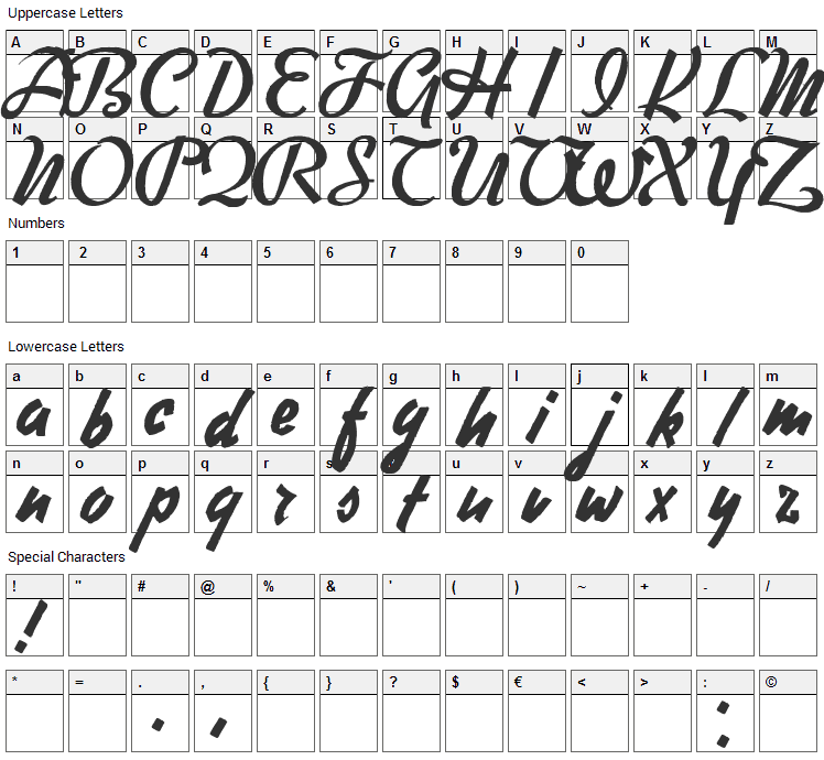 Free Writer Font Character Map
