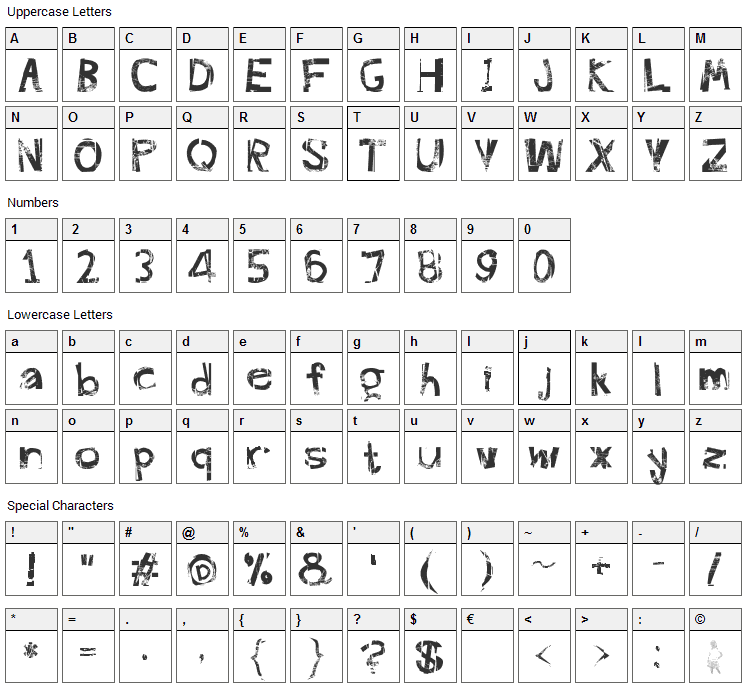 FreekTure Font Character Map