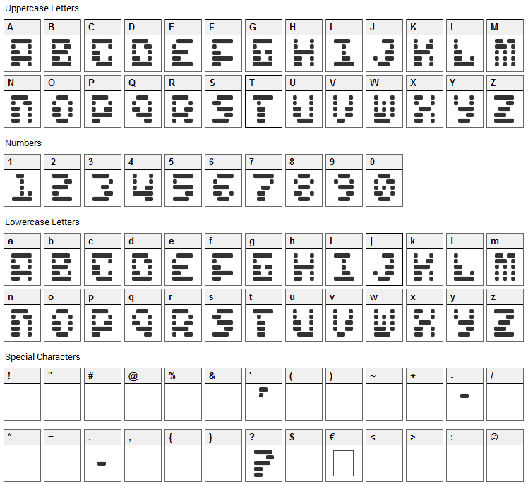 Freelance Kamchatka Font Character Map