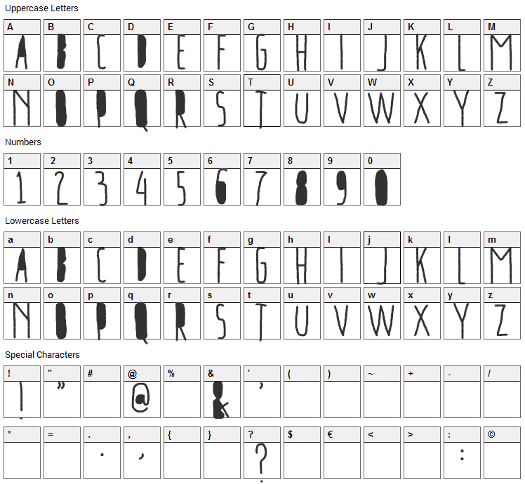 Freeport Go Away Font Character Map