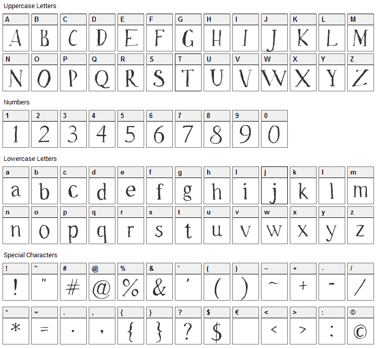 Freeride Font Character Map