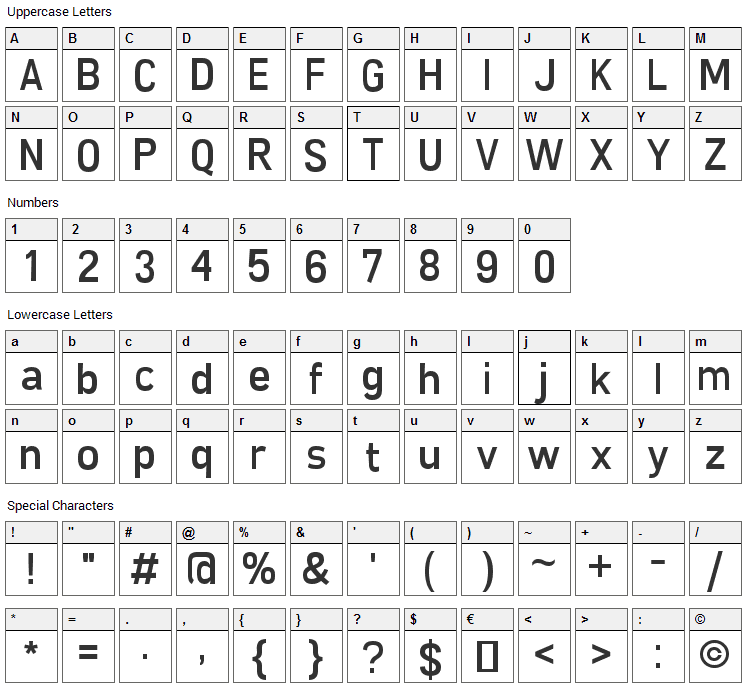 Freeroad Font Character Map