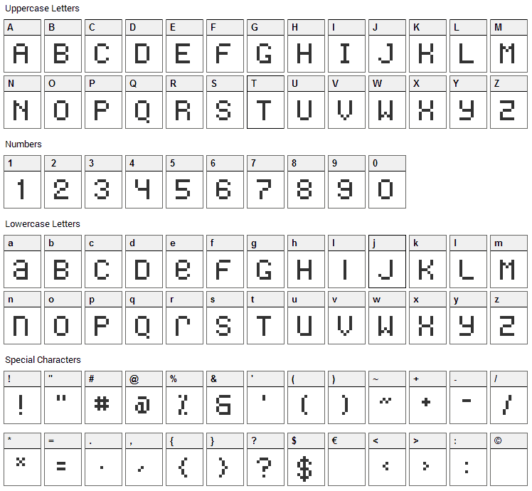 Freon Font Character Map