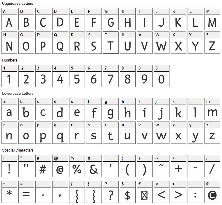 Fresca Font Character Map