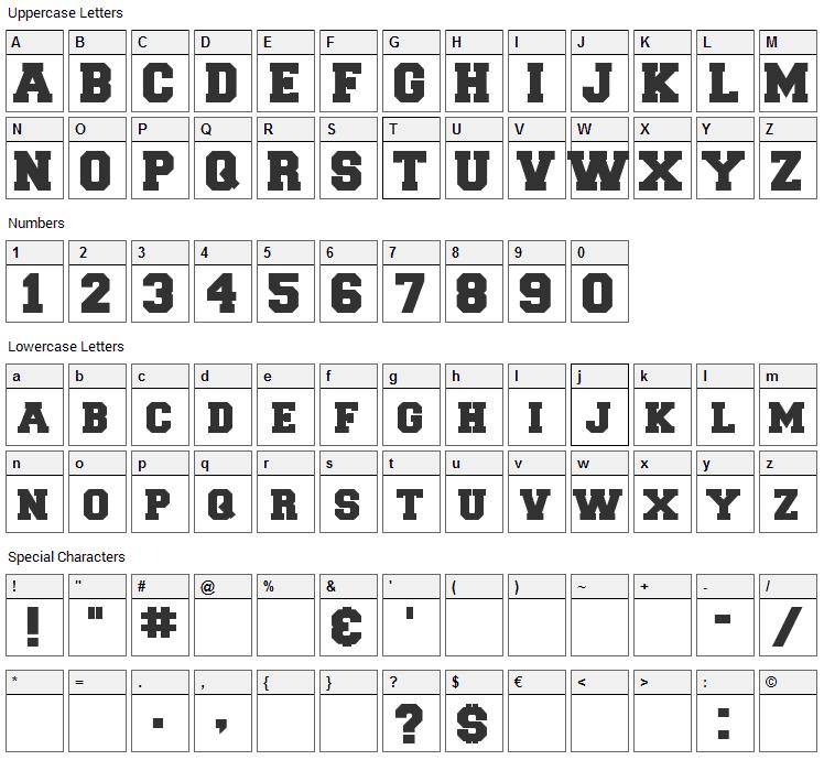 Freshman Font Character Map