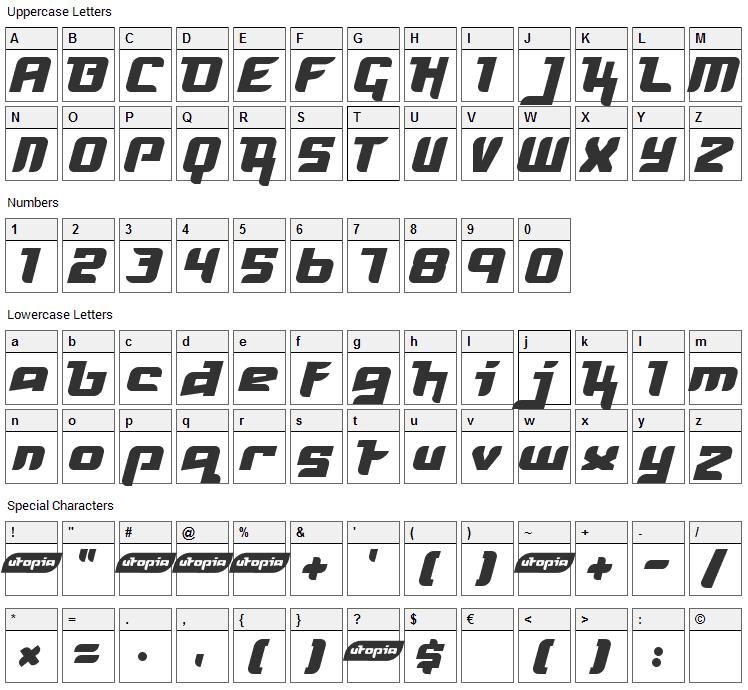 Freya Font Character Map