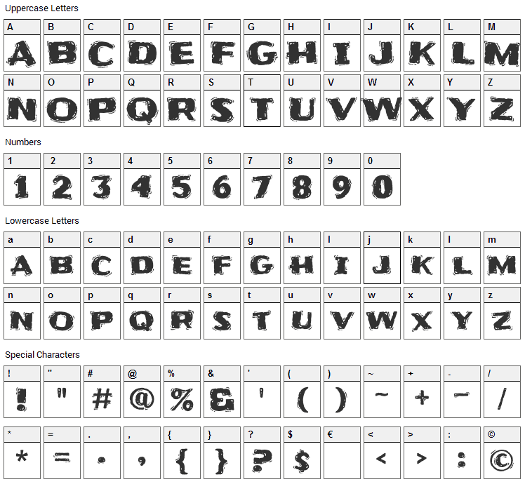 Frijole Font Character Map