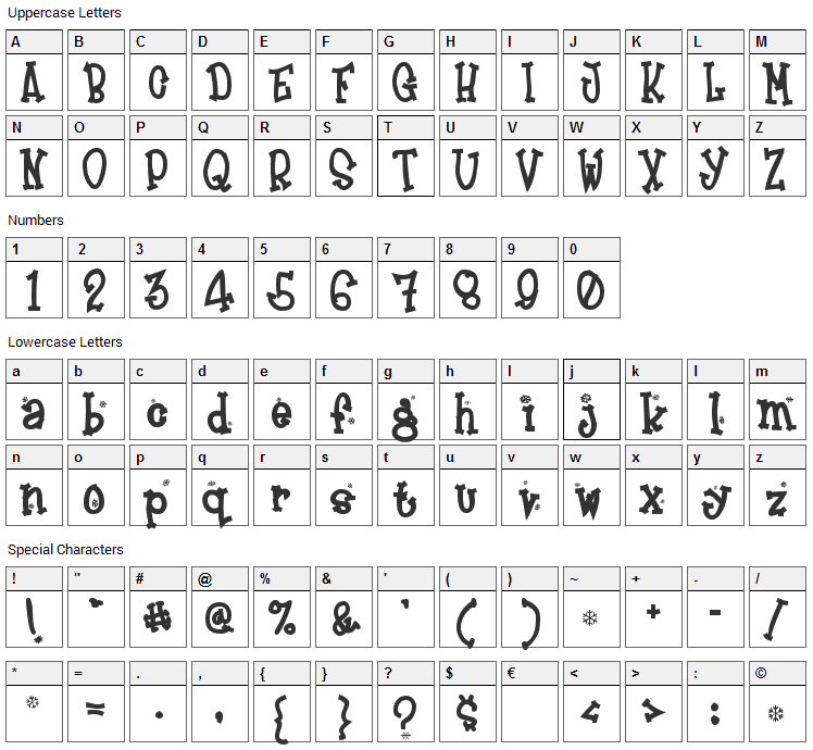 Frosty Font Character Map