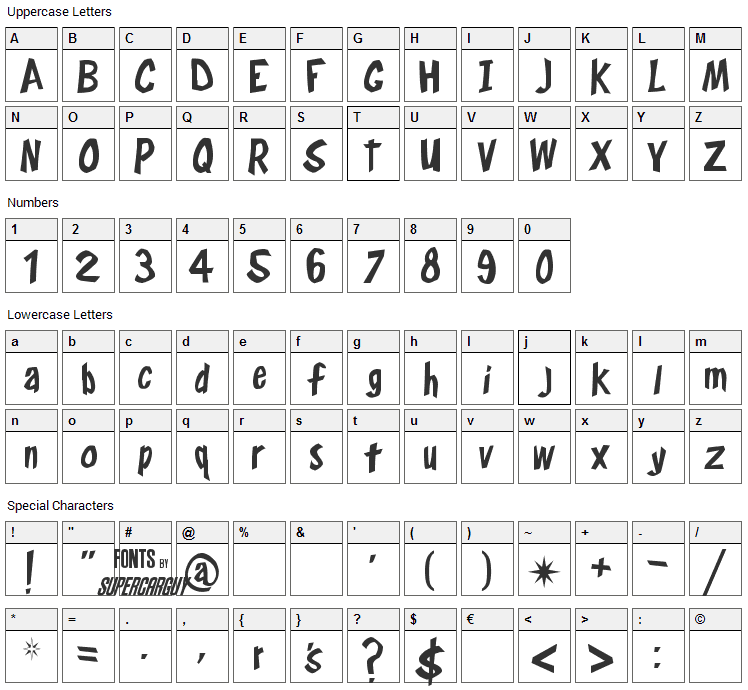 Frostys Winterland Font Character Map
