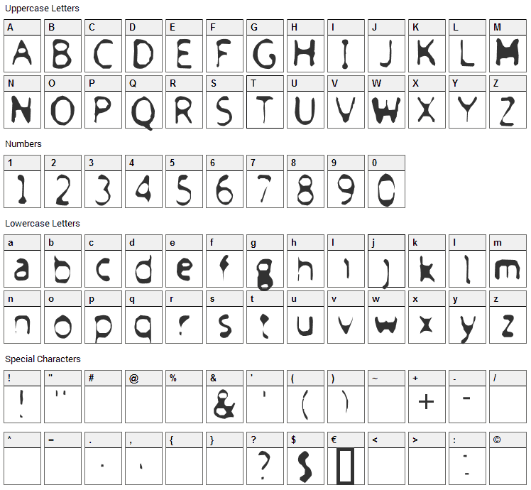 Froufrou Font Character Map