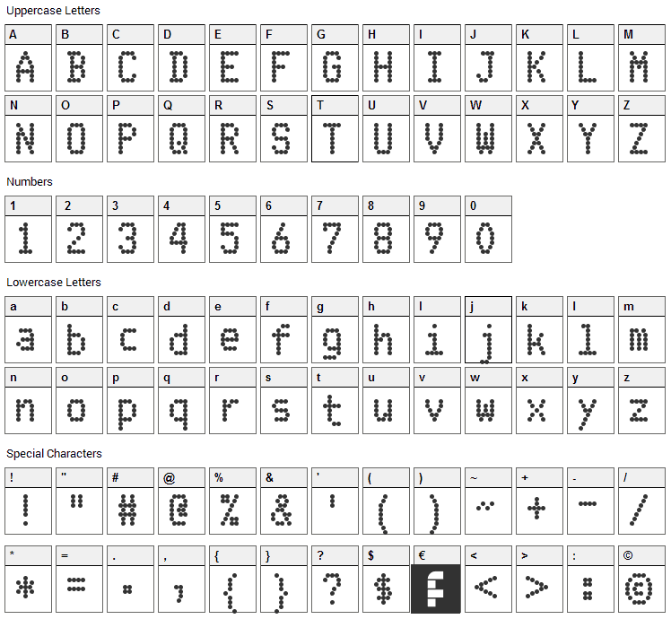 FS Blok Font Character Map