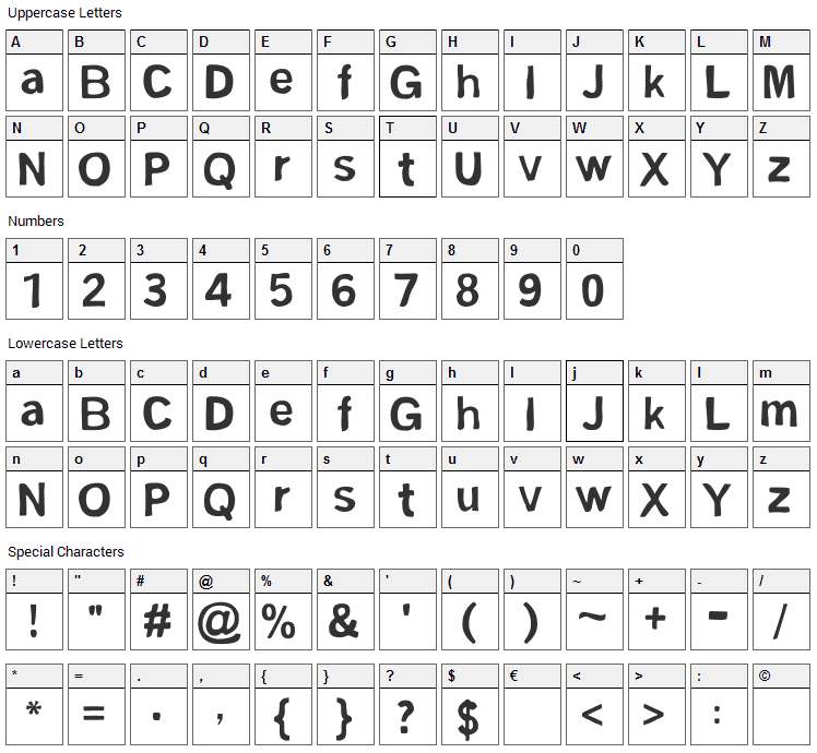 FSM Sans Font Character Map
