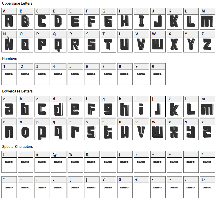 FT Scandinavian Titan Font Character Map