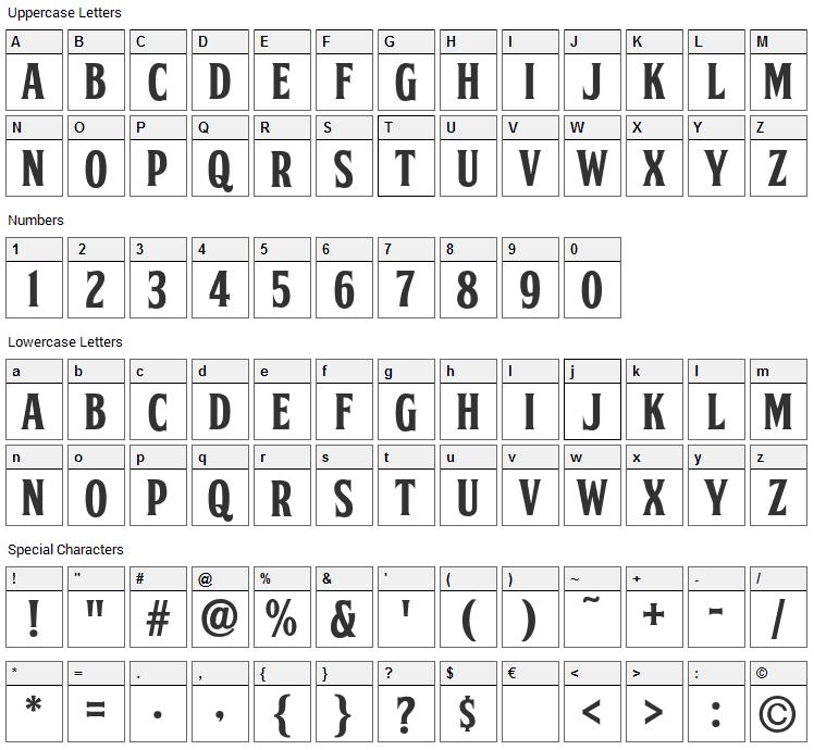 FTY Skorzhen Font Character Map