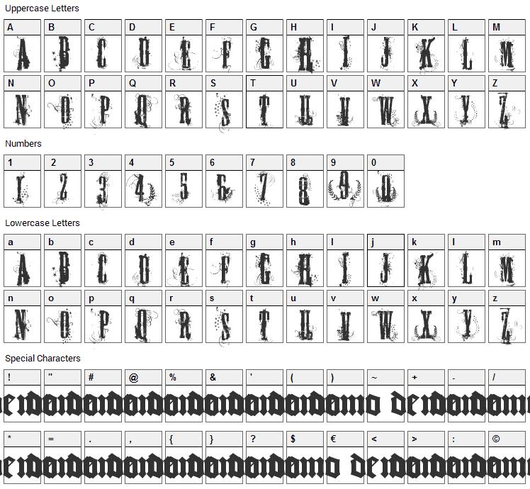 Fuck you Las Vegas Font Character Map