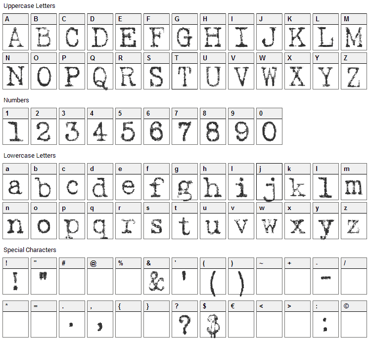 Fucked Olympia J Font Character Map