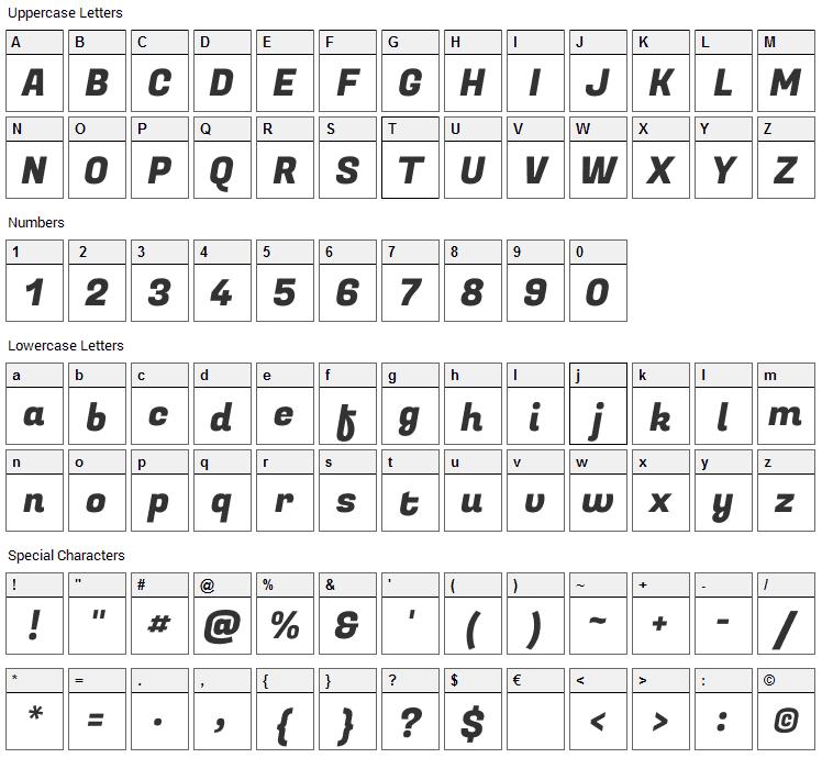 Fugaz One Font Character Map