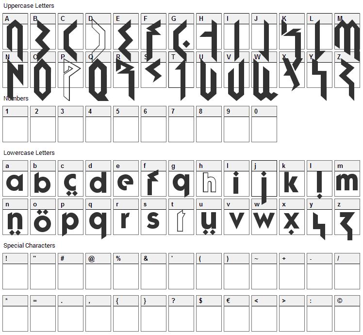 Fujita Ray Font Character Map