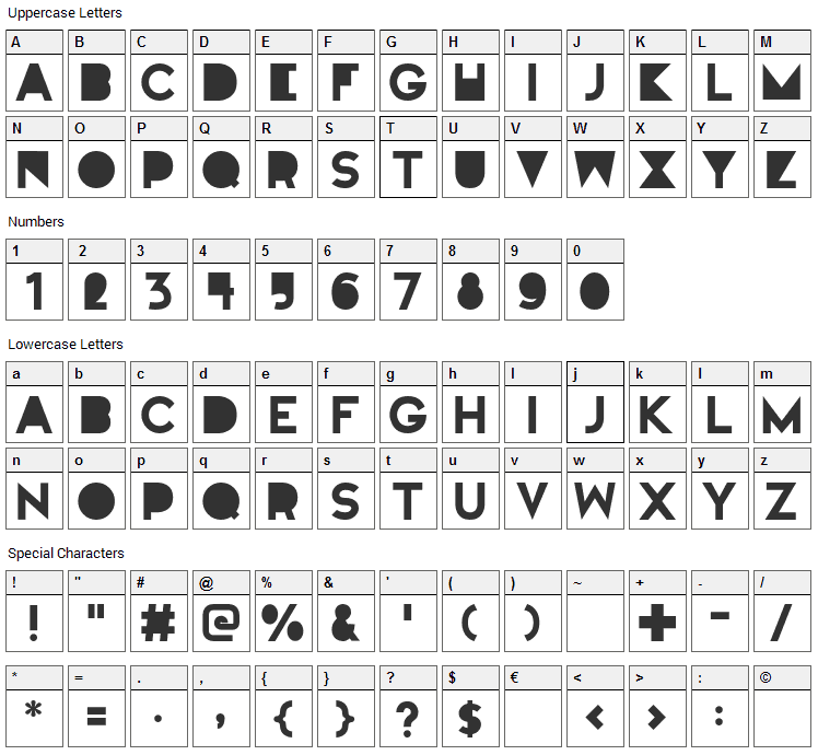 Full Moon On Mars Font Character Map