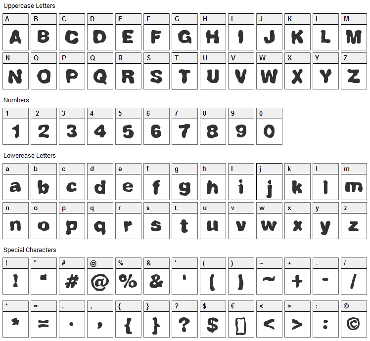 Fully Completely Font Character Map