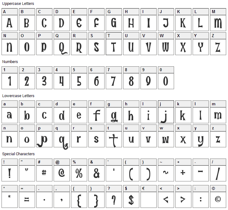 Fun in the Jungle Font Character Map