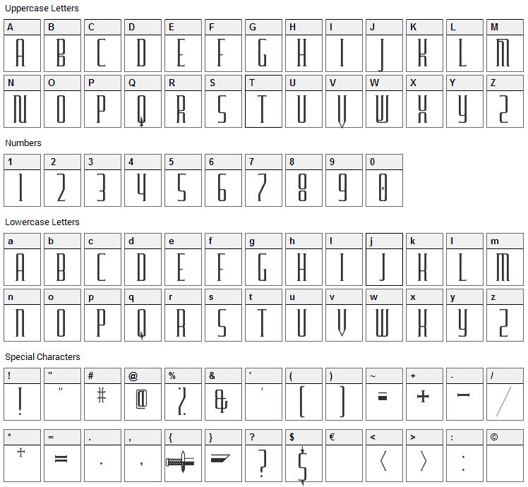 Furgatorio Font Character Map