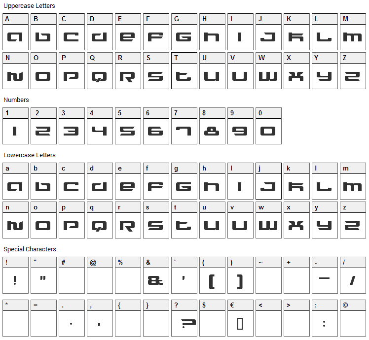 Fusion Font Character Map