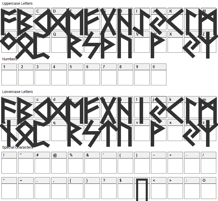 Futhark Font Character Map