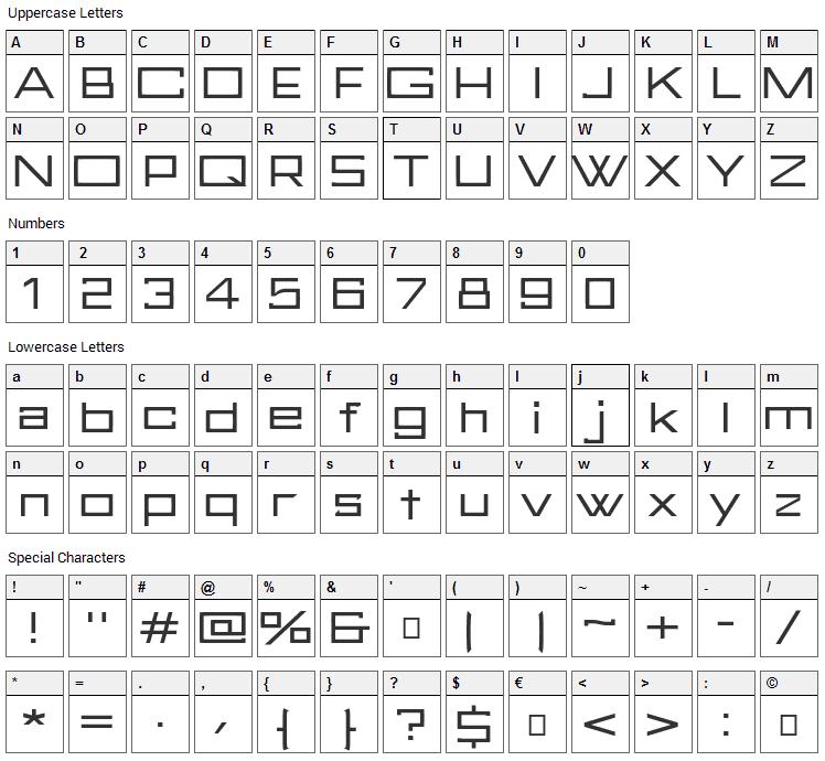 FuturBlock Font Character Map