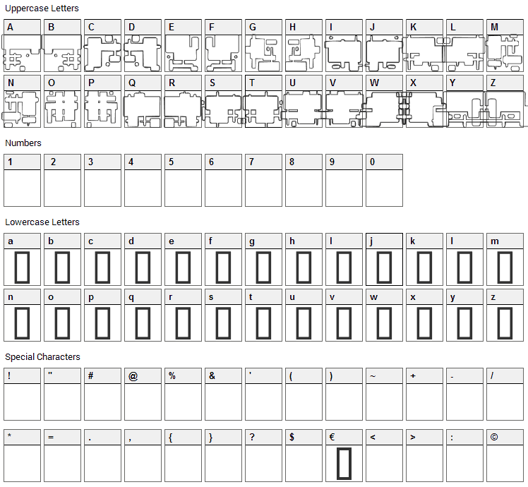 Future Boxes Font Character Map