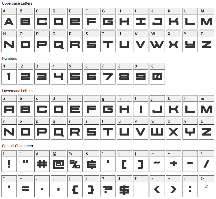 Future Forces Font Character Map