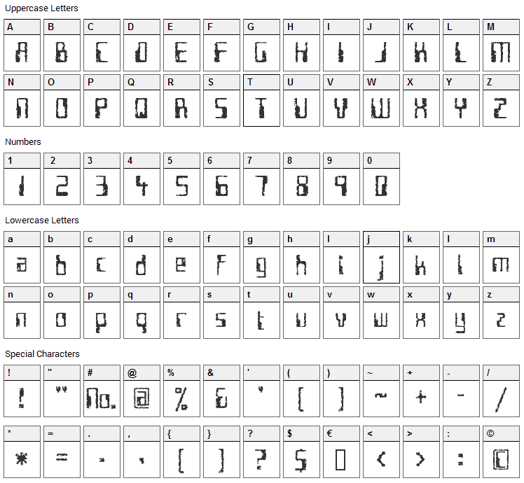 Future Imperfect Font Character Map