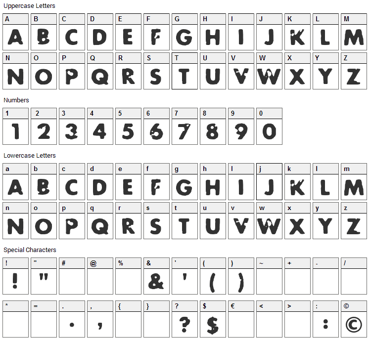Future Rot Font Character Map