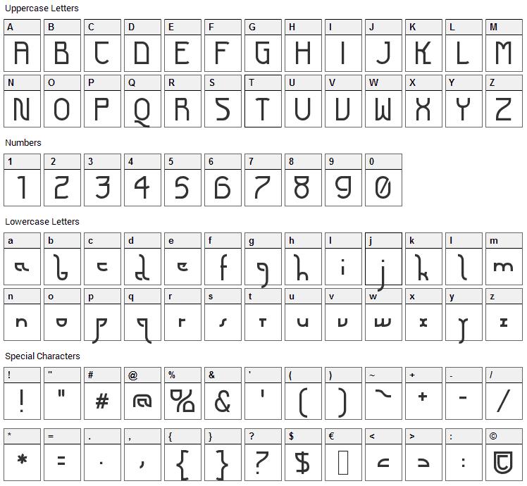 Futurex Arthur Font Character Map