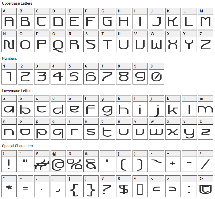 Futurex Voyager Font Character Map