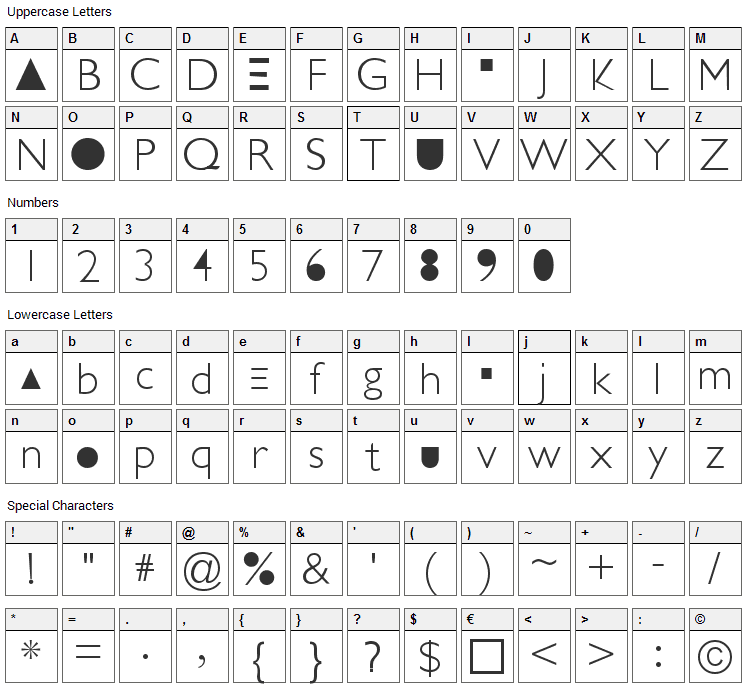Futurism Light Font Character Map