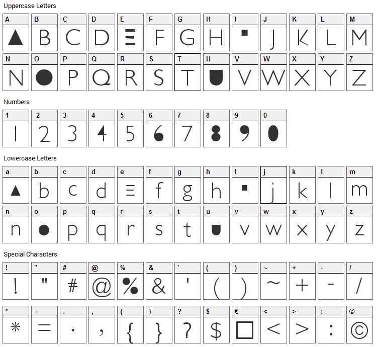 Futurism Light Font Character Map