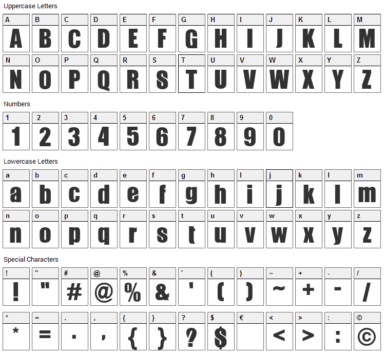 Gabo Font Character Map