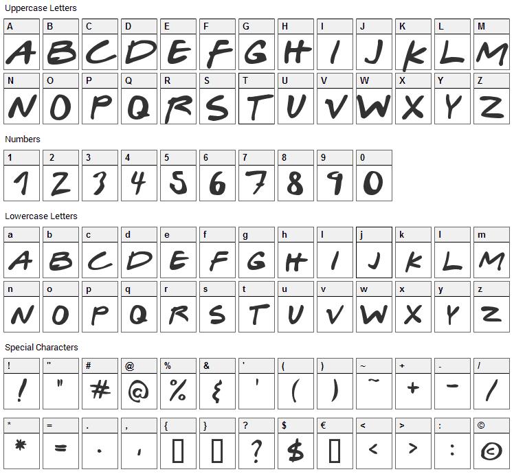 Gabriel Weiss Friends Font Character Map