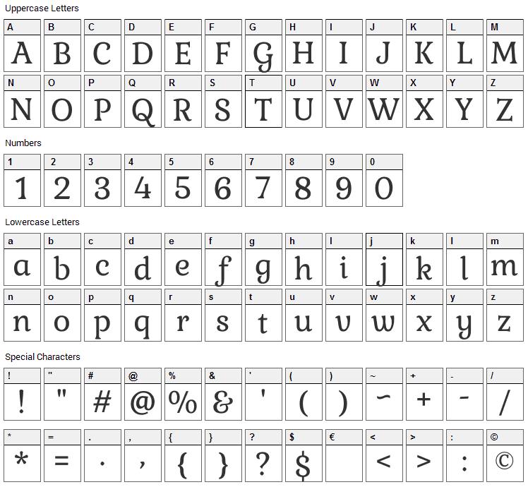 Gabriela Font Character Map