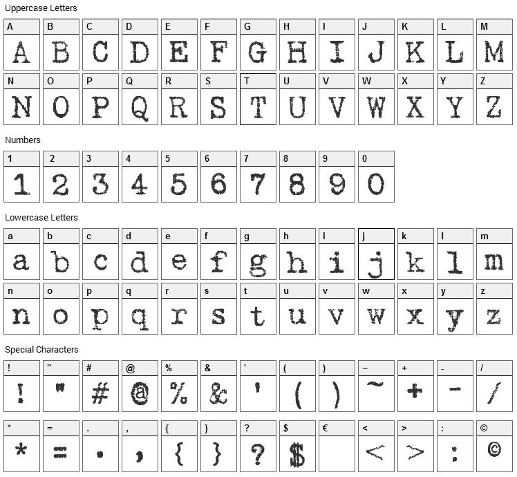 Gabriele Ribbon Font Character Map