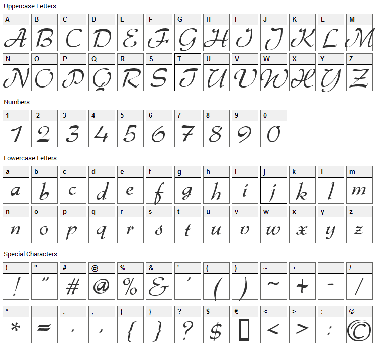 Gabrielle Font Character Map