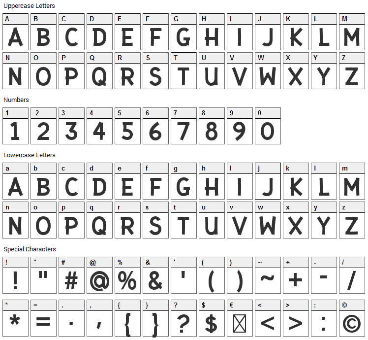 Gaffer Type Font Character Map