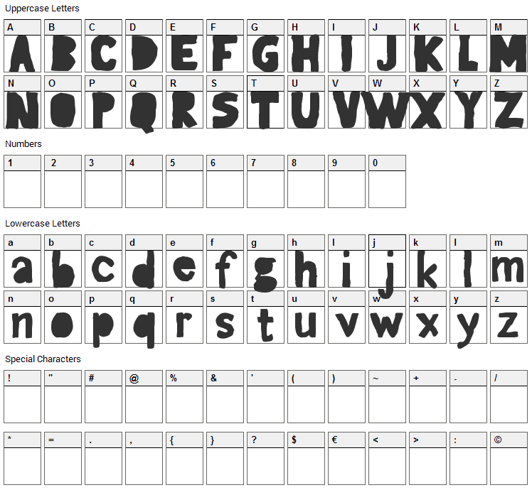 Gagaille Seconde Font Character Map