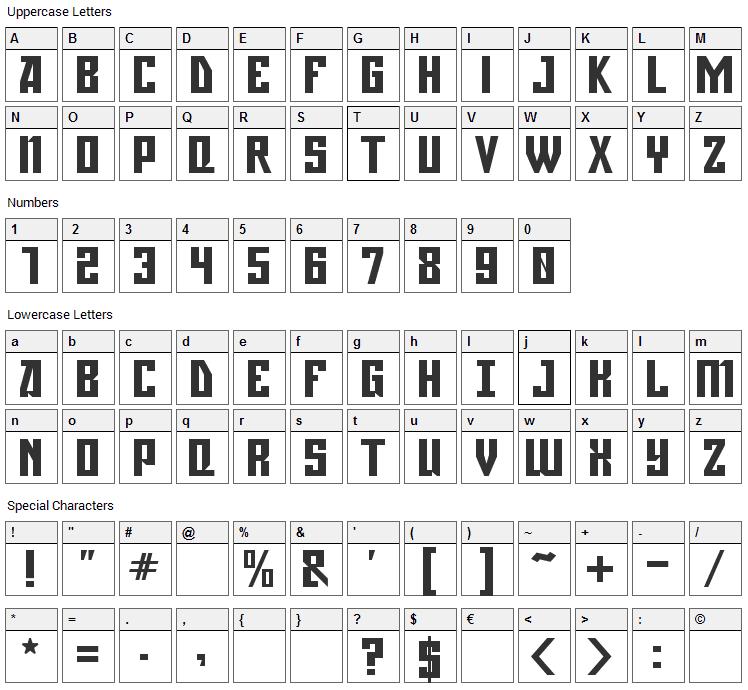 Gagarin Font Character Map