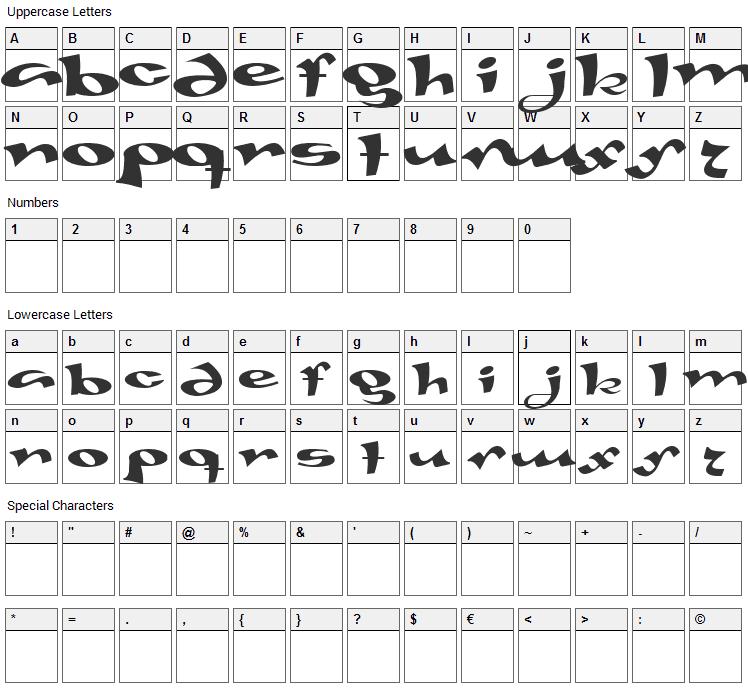 Gaivota Font Character Map